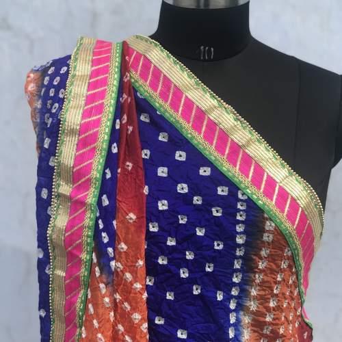 Orange Bandhani Art Silk Dupatta