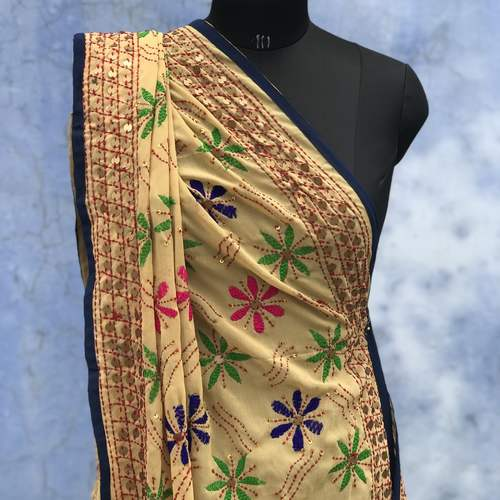 Beige Georgette Embroidered Dupatta