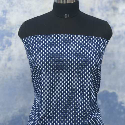 Indigo Booti Block Printed Fabric