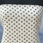 White Rayon with Black Booti Printed Fabric