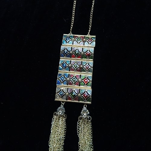 meenakari long chain necklace