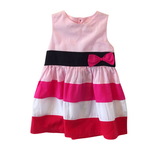 Pink multistriped dress with cardigan