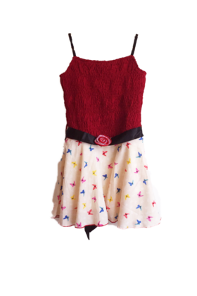 Red smocked printed dress