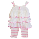 Baby girl legging set with cardigan - light pink