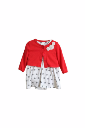 Baby White dress with Red cardigan