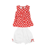 Red Polka dot top & white shorts set