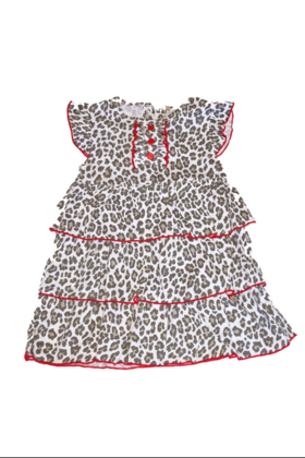 Baby leopard print dress with red cardigan