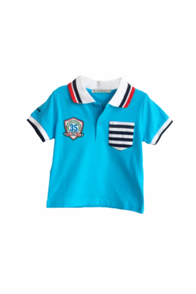 Boys Blue T shirt with red & black striped collar