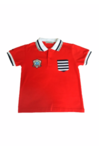 Red T-shirt with black & white stripes
