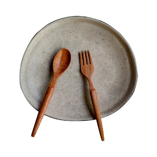 Neem Wood Spoon and Fork / Set of 2 /  Eco friendly / Dinnerware / Desserts /  Wood Cutlery