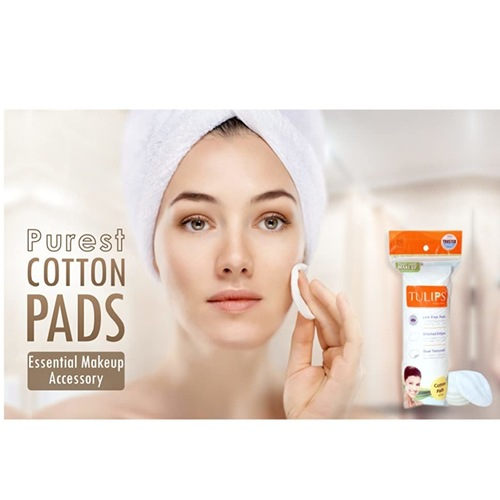 Tulips 50 Round Facial Cotton Pads in a Zip-lock Bag