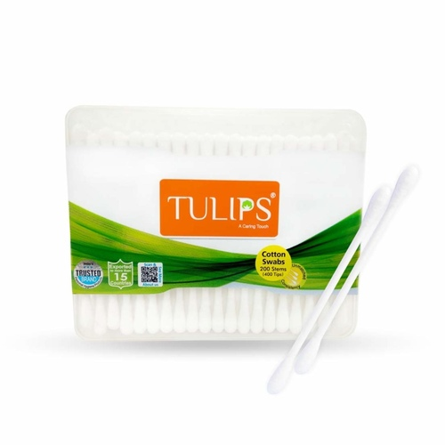 Tulips Cotton Buds 200 Sticks - Flat Box