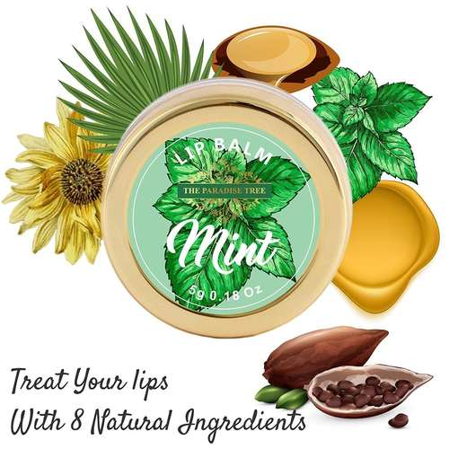 The Paradise Trees Mint Leaves Lip Balm with Organic Bees Wax for plump lips 5g