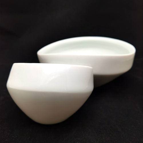 Green White Figure-8 Double Bowls Double