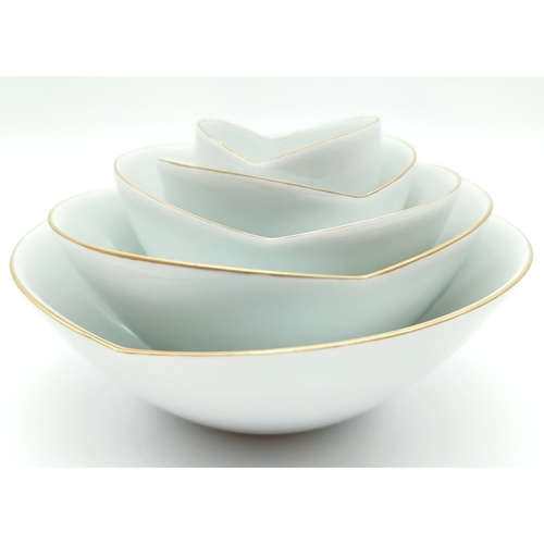 Green White Rose Layered Bowls-2nd Ed