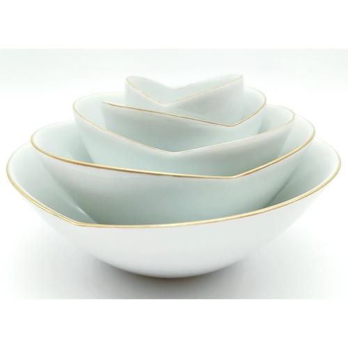 Green White Rose Layered Bowls-2nd Ed