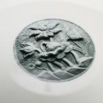 Stone Carved Flower Dessert PlateBowl Set - M 21cm Round Deep Plate 4pcs Set