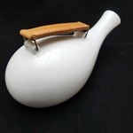 White Glaze Decanter With Leather Handle Decanter