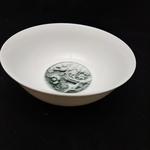 Stone Carved Flower Dessert PlateBowl Set - B 15cm Cereal Bowl 4pcs Set