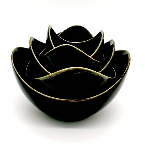 Black Glaze Lotus Bowl Set