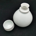 Green White Gourd-Shaped Hot Sake Pot