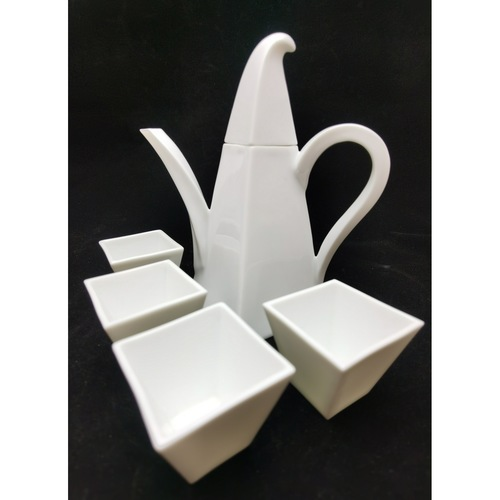 Green White Twisted Square Tea Set