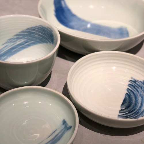 China Blue Brush Stroke Footless Bowl 150mm
