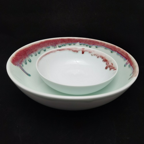 Under-Glaze Red Footless Bowl - 260mm