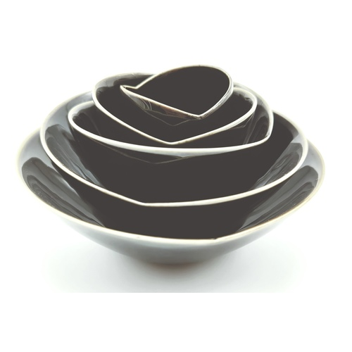 Black Glaze Rose Layered Bowls-2nd Ed