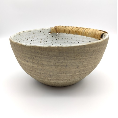 Fruit Bowls With Bamboo Handle Tall - Pottery