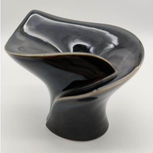 Black Glaze Calla Candle Stands-Short