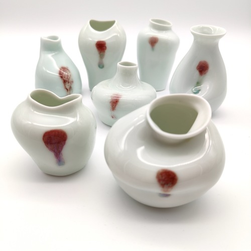 Underglazed Red Seven Fortunes Vase Set