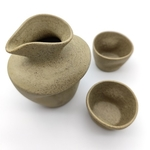 Semi-Stoneware Thumb Print Sake Set