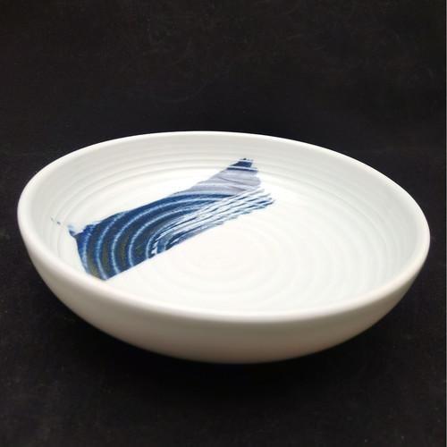 China Blue Brush Stroke Footless Bowl 150mm