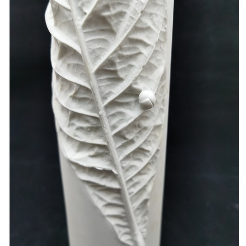 White Biscuit Pipa Leaf Vases - Large