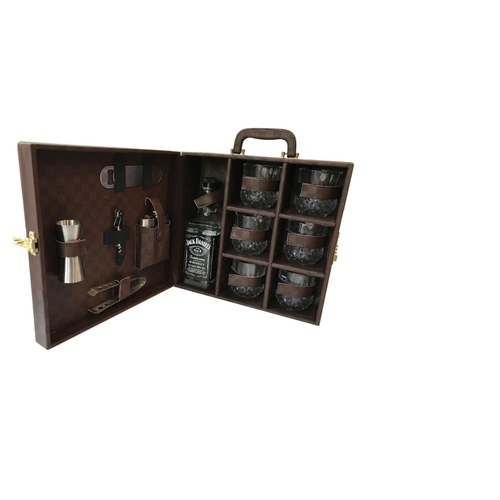 Brown Checked Leather Box Bar Set