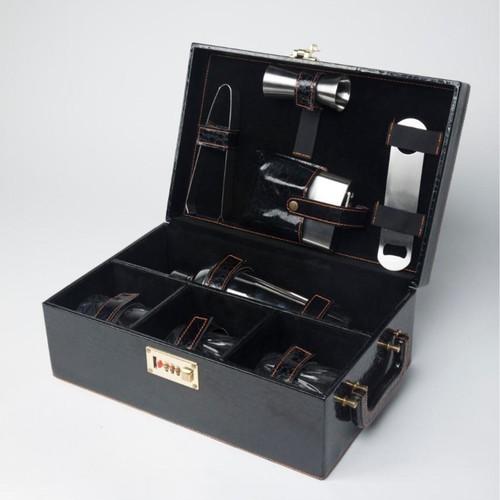 Plain Black Leather Box Bar Set3 Glass
