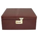 Brown Croc Textured Leather Box Bar Set