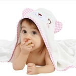 Organic Bamboo Hooded Towel - Pink Shy Bear