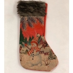 Red Mini Stockings - Snowman In a Hat