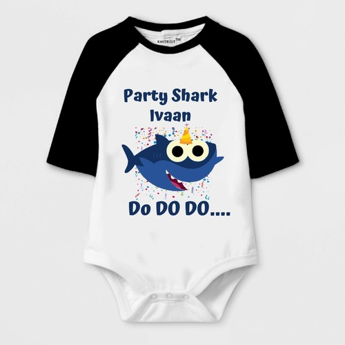 New Year Special Party Shark Print Baby Romper
