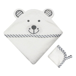 Organic Bamboo Hooded Towel - Grey Bear