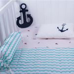 Sailing Boats Organic Cot Bedding Set - With Quilted Blanket