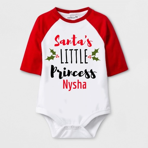 Christmas Special Santa's Little Princess Print Baby Romper