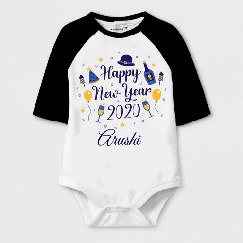 New Year Special Happy New Year 20-20 Print Baby Romper