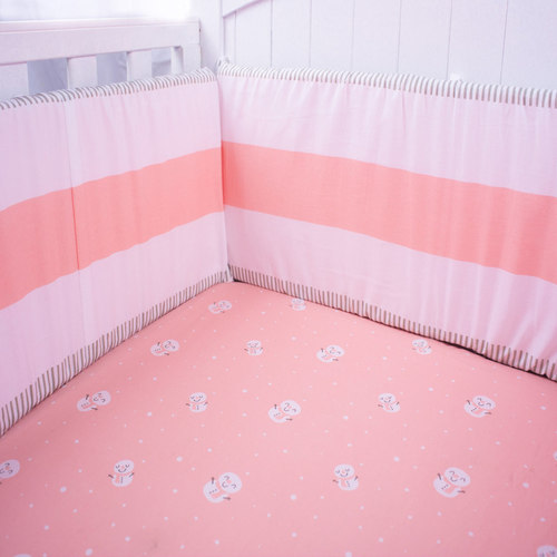 Pink Stripe Organic Baby Cot Bumper