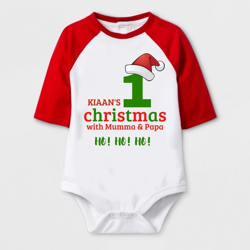 Christmas Special 1st Christmas with Mumma & Papa Print Baby Romper