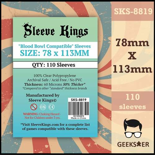 8819 Sleeve Kings Blood Bowl Compatible 78 X 113mm