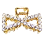 Gold Rhinestone Hair Claw Clips - Bow