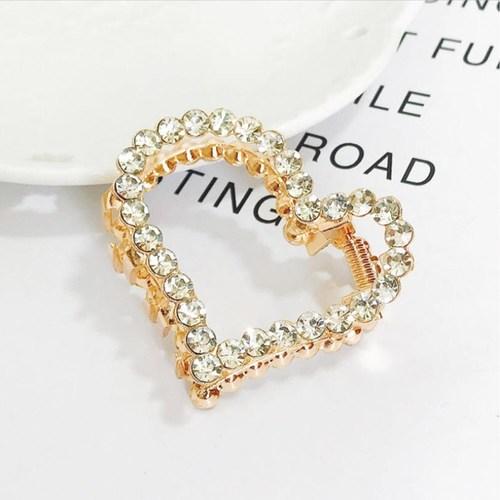Gold Rhinestone Hair Claw Clips - Heart